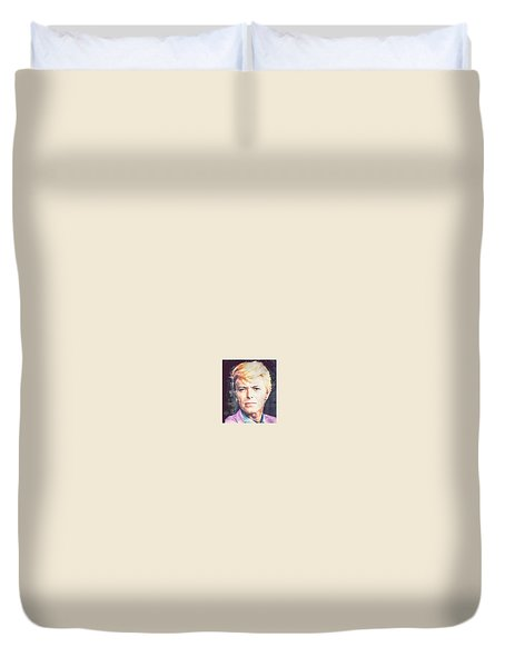 Duvet Cover featuring the painting Farewell David Bowie by Ana Tirolese