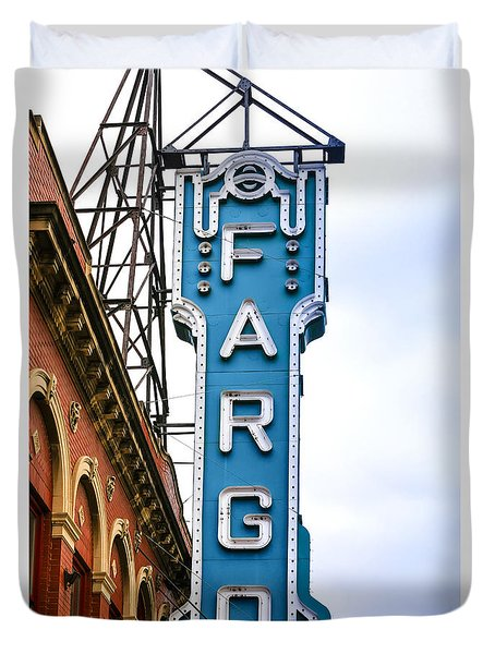 Fargo Blue Theater Sign Duvet Cover by Chris Smith