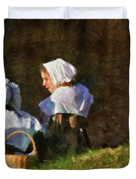 Farm - Farmer - The Young Maidens Duvet Cover by Mike Savad