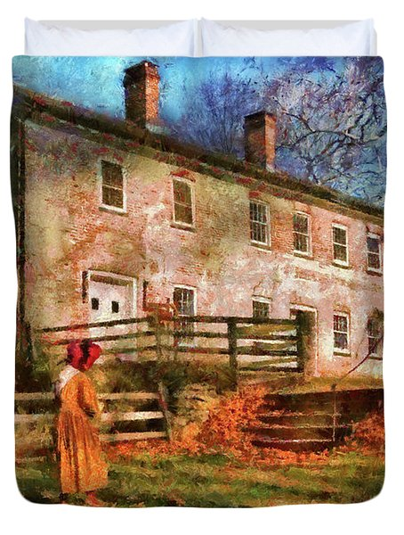 Farm - Farmer - There Was An Old Lady Duvet Cover by Mike Savad