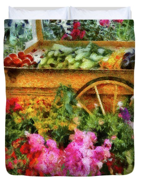 Farm - Food - At The Farmers Market Duvet Cover by Mike Savad