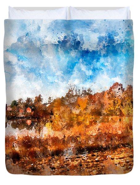 Farm Fall Colors Watercolor Duvet Cover