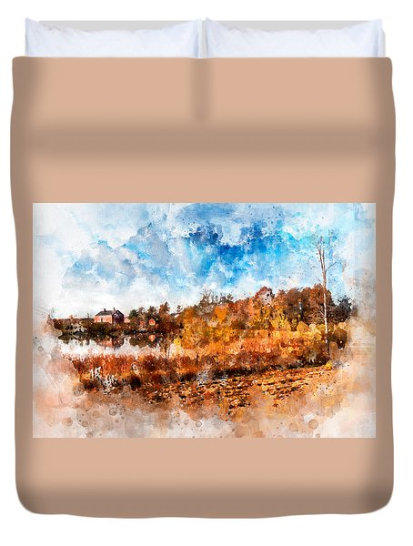 Farm Fall Colors Watercolor Duvet Cover