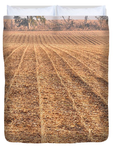 Farm Field Fog Duvet Cover by Steve Gadomski