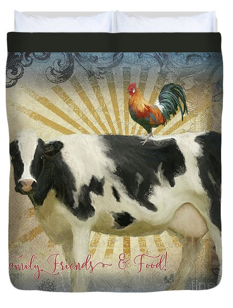 Duvet Cover featuring the painting Farm Fresh Barnyard Animals Cow Rooster Typography by Audrey Jeanne Roberts