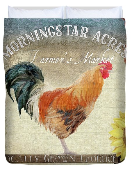 Duvet Cover featuring the painting Farm Fresh Barnyard Rooster Morning Sunflower Rustic by Audrey Jeanne Roberts