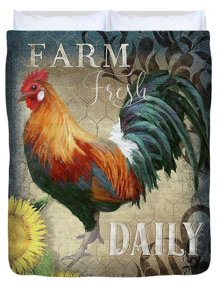 Duvet Cover featuring the painting Farm Fresh Daily Red Rooster Sunflower Farmhouse Chic by Audrey Jeanne Roberts