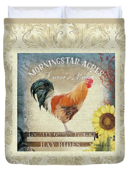 Duvet Cover featuring the painting Farm Fresh Damask Barnyard Rooster Sunflower Square by Audrey Jeanne Roberts
