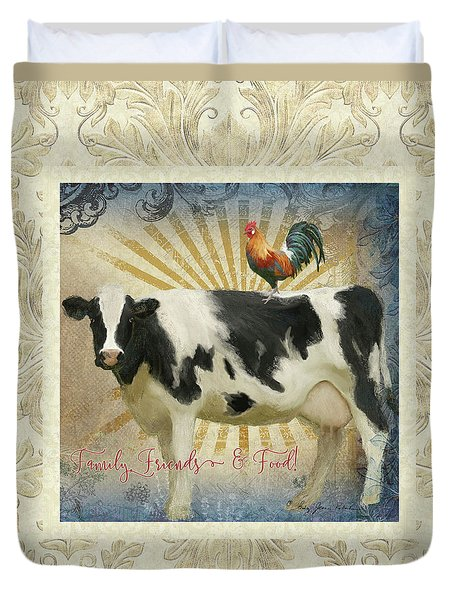 Duvet Cover featuring the painting Farm Fresh Damask Milk Cow Red Rooster Sunburst Family N Friends by Audrey Jeanne Roberts