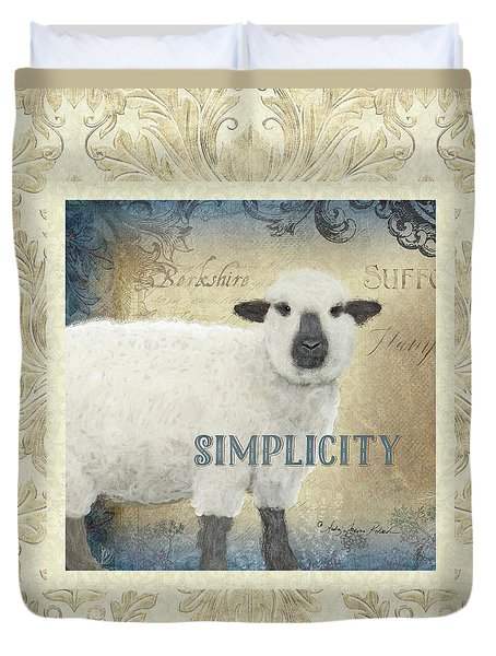 Duvet Cover featuring the painting Farm Fresh Damask Sheep Lamb Simplicity Square by Audrey Jeanne Roberts