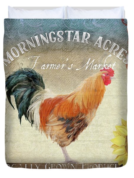 Duvet Cover featuring the painting Farm Fresh Morning Rooster Sunflowers Farmhouse Country Chic by Audrey Jeanne Roberts