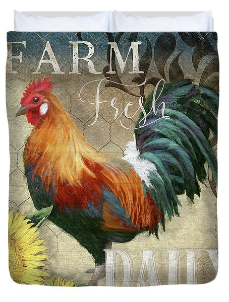 Duvet Cover featuring the painting Farm Fresh Red Rooster Sunflower Rustic Country by Audrey Jeanne Roberts