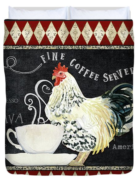 Duvet Cover featuring the painting Farm Fresh Rooster 5 - Coffee Served Chalkboard Cappuccino Cafe Latte  by Audrey Jeanne Roberts