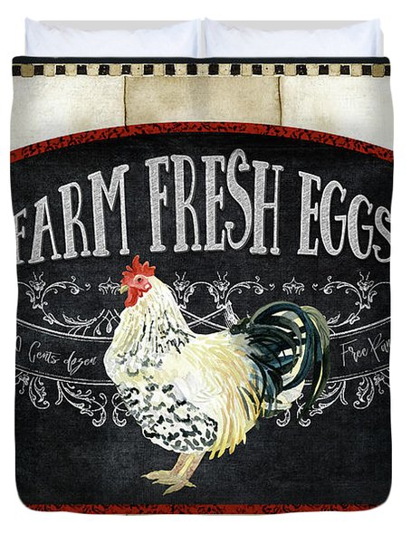Duvet Cover featuring the painting Farm Fresh Roosters 1 - Fresh Eggs Typography by Audrey Jeanne Roberts