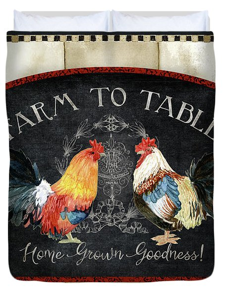 Duvet Cover featuring the painting Farm Fresh Roosters 2 - Farm To Table Chalkboard by Audrey Jeanne Roberts