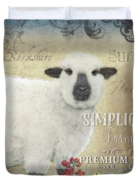 Duvet Cover featuring the painting Farm Fresh Sheep Lamb Wool Farmhouse Chic  by Audrey Jeanne Roberts