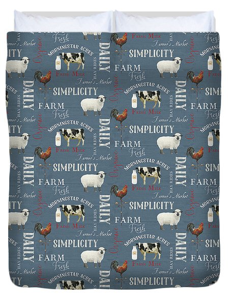Farm Fresh Typography Country Cow Sheep Rooster Milk Blue Pattern Duvet Cover