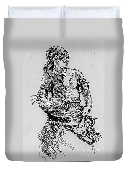 Duvet Cover featuring the drawing Farm Girl by Rod Ismay