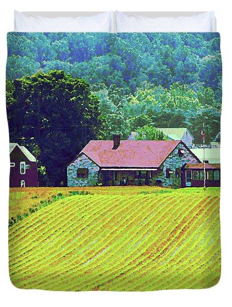 Farm Homestead Duvet Cover by Susan Savad