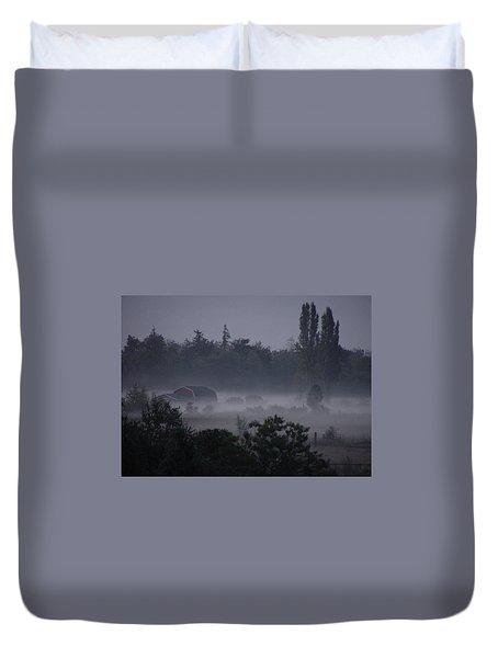 Farm In Fog Duvet Cover