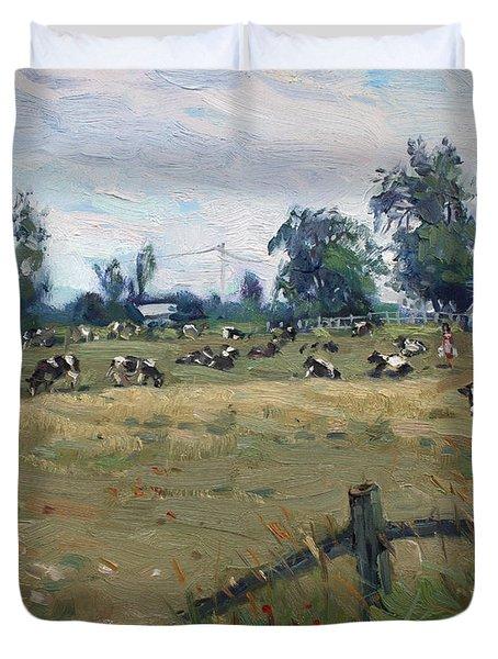 Farm In Terra Cotta On Duvet Cover