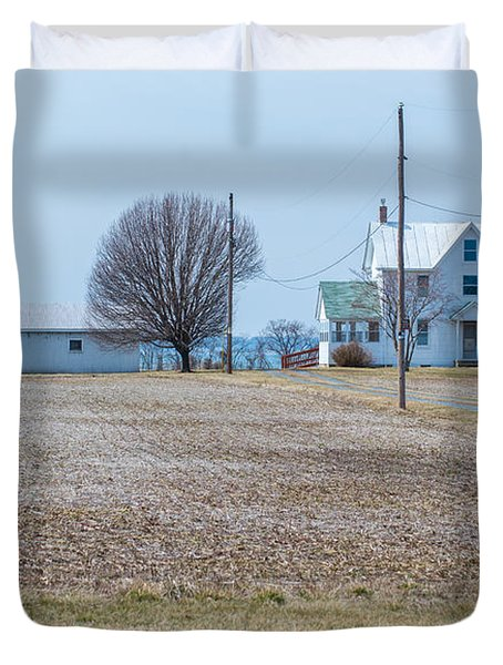 Farm On The Bay Duvet Cover