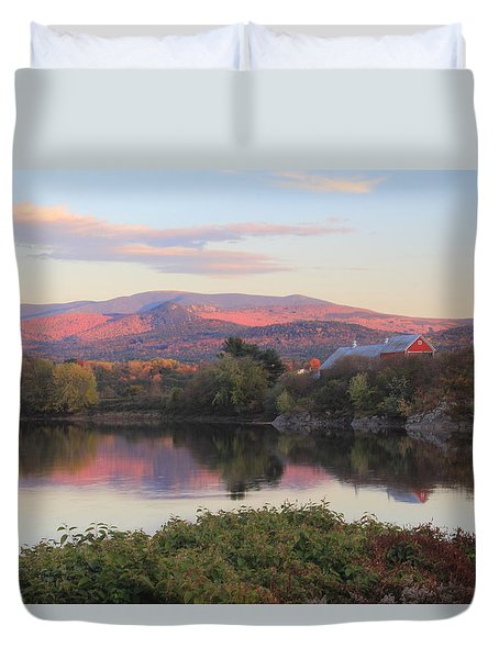 Early Autumn Evening On The Connecticut River Newbury Vermont Duvet Cover