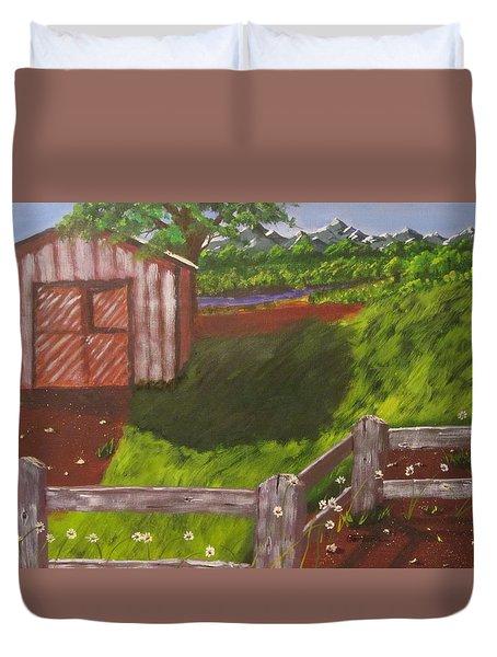Farm Painting Duvet Cover