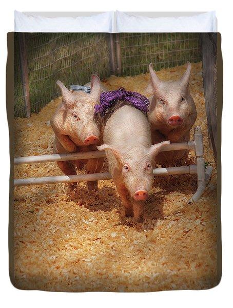 Farm - Pig - Getting Past Hurdles Duvet Cover by Mike Savad