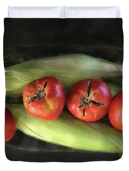 Duvet Cover featuring the digital art Farm Produce by Lois Bryan