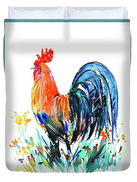 Duvet Cover featuring the painting Farm Rooster by Zaira Dzhaubaeva