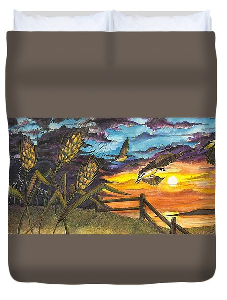 Farm Sunset Duvet Cover by Darren Cannell