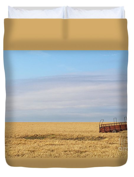 Farm Trailer In The Middle Of Field Duvet Cover