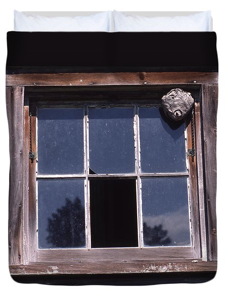 Farm Window With Paper Wasp Nest Duvet Cover