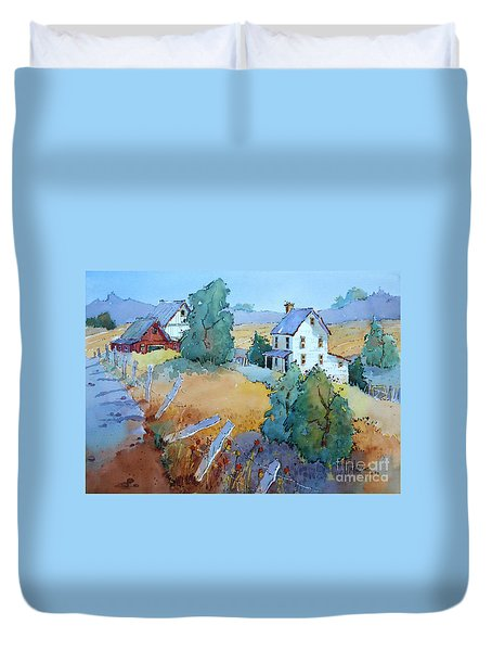 Farm With Blue Roof Tops Duvet Cover
