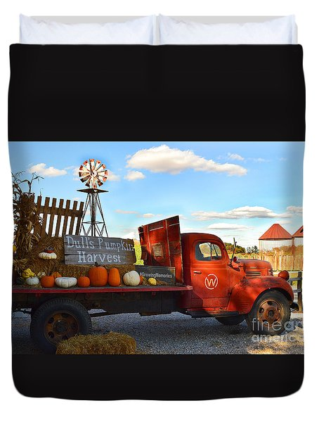Farm With Red Truck In Fall  Duvet Cover