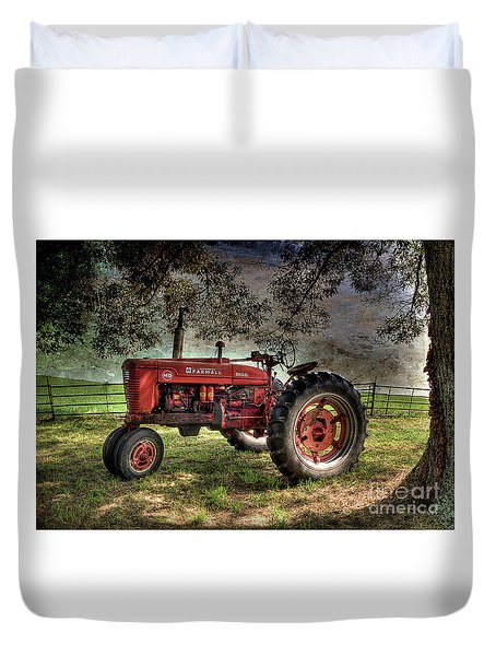 Farmall In The Field Duvet Cover by Michael Eingle
