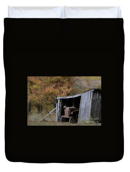 Duvet Cover featuring the photograph Farmall Tucked Away by Benanne Stiens