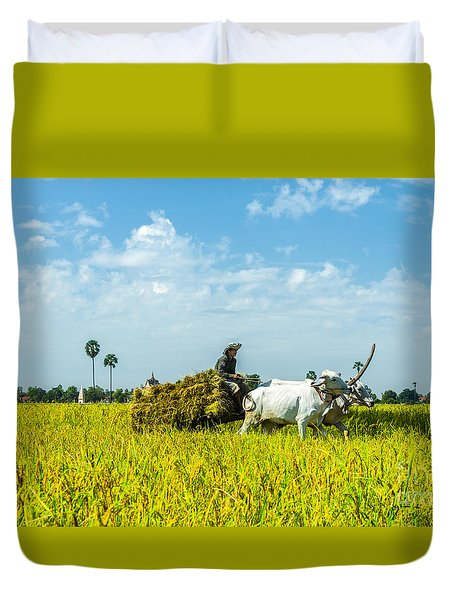 Farmer Carrying Rice With Cow Duvet Cover