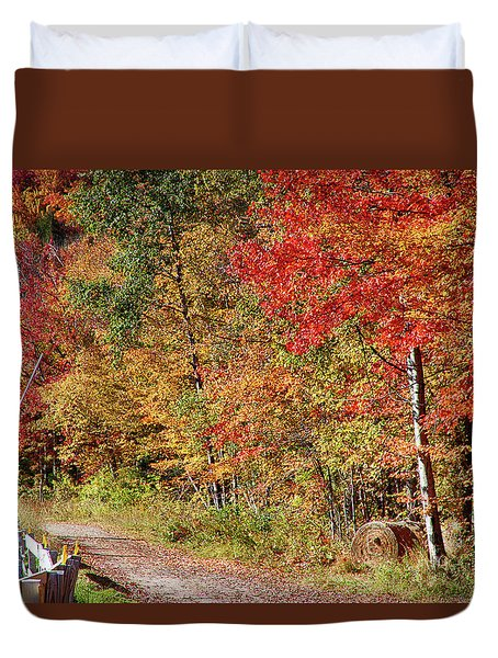 Duvet Cover featuring the photograph Farmers Path Of Fall Colors by Jeff Folger