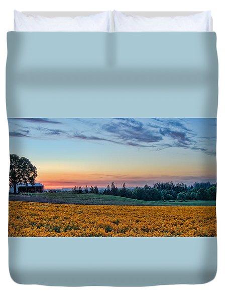 Farmhouse Among The Wallflowers Duvet Cover