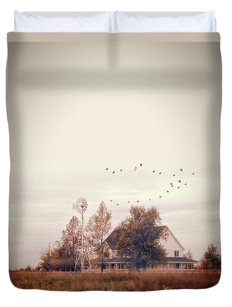 Duvet Cover featuring the photograph Farmhouse And Windmill by Jill Battaglia