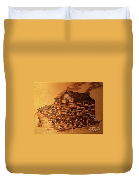 Duvet Cover featuring the pyrography Farmhouse by Denise Tomasura