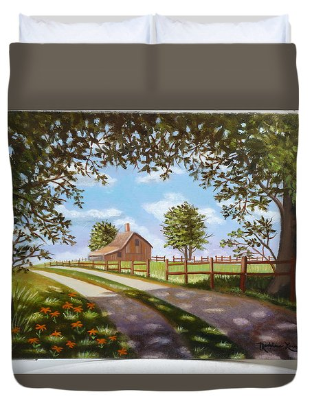 Farmhouse Framed By Trees Duvet Cover