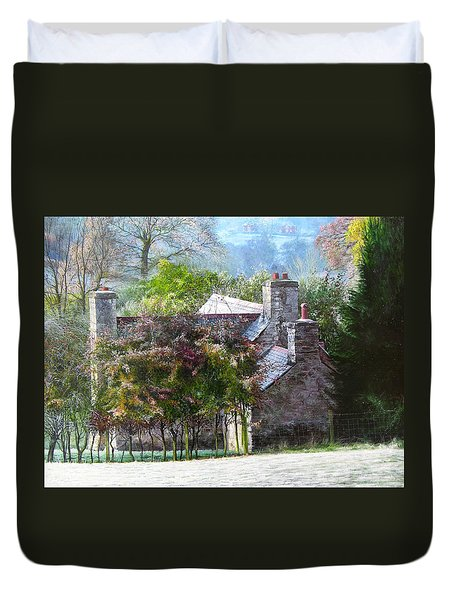 Duvet Cover featuring the painting Farmhouse On A Cold Winter Morning. by Harry Robertson