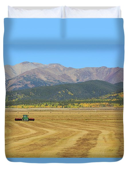 Farming In The Highlands Duvet Cover