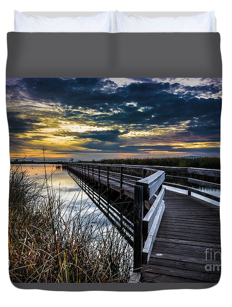 Duvet Cover featuring the photograph Farmington Bay Sunset - Great Salt Lake by Gary Whitton