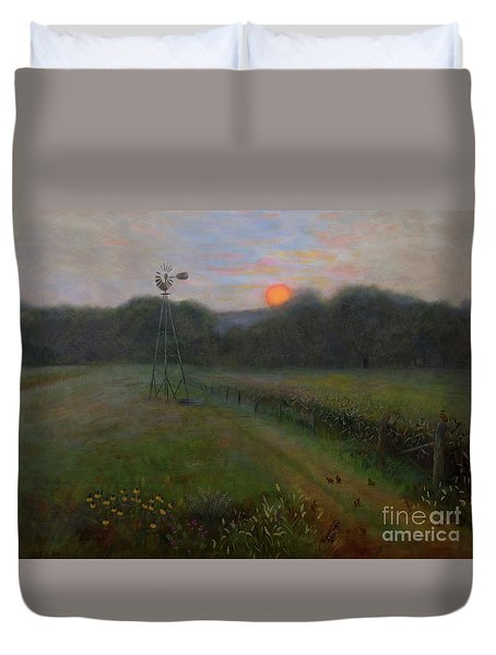 Duvet Cover featuring the painting Farmland Peace by Nancy Lee Moran
