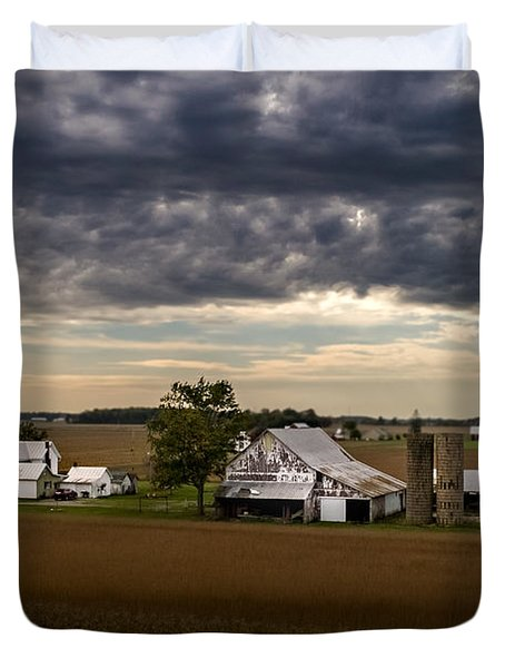 Farmstead Under Clouds Duvet Cover