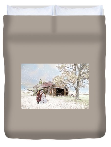 Farmstyle Snowman Duvet Cover by Mary Timman